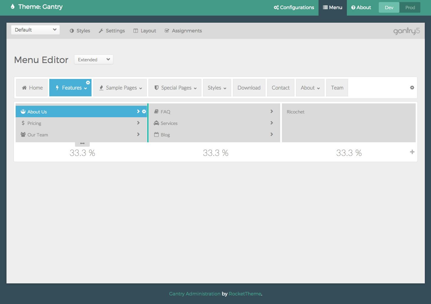 Gantry 5 menu editor