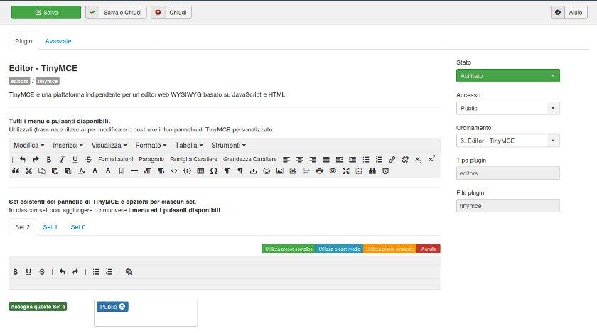 Joomla 3.7 editor tinymce