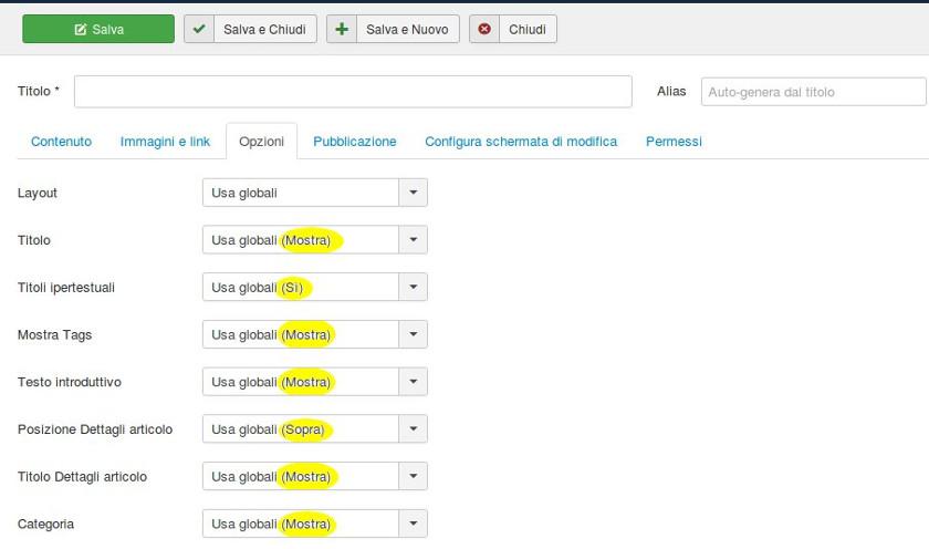 Joomla 3.7 Impostazione visualizzazione articoli categorie